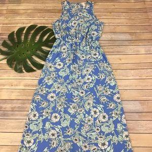 H&M blue floral sleeveless maxi dress